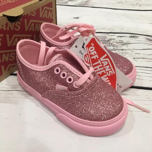 VANS sparkle pink shoes Size 6 toddler 4a885a5a4